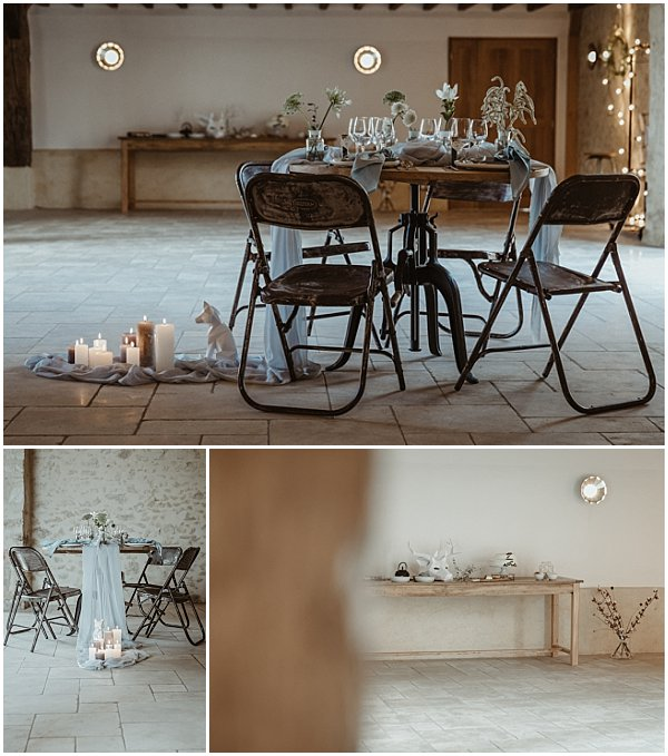 wooden tables and iron chairs for wedding design