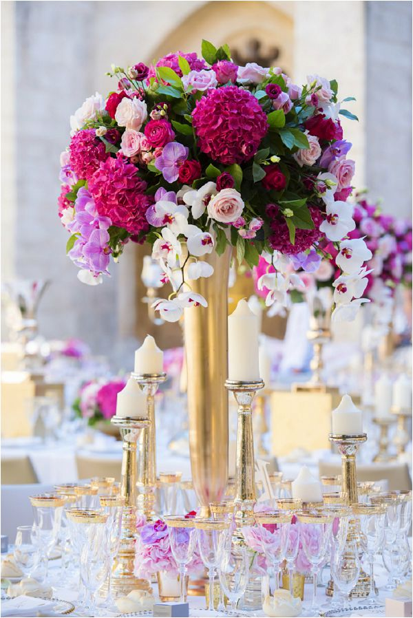 Paula Rooney bright and bold wedding table centres, on French Wedding Style
