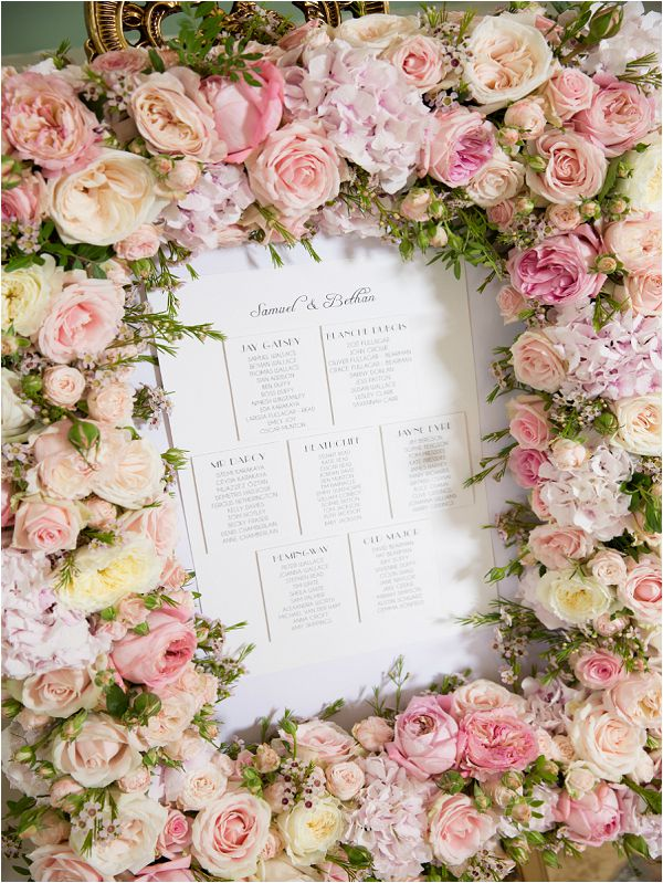 Paula Rooney floral frame wedding guest seating chart, on French Wedding Style