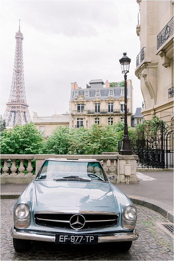 Paris Vintage Elopement Car