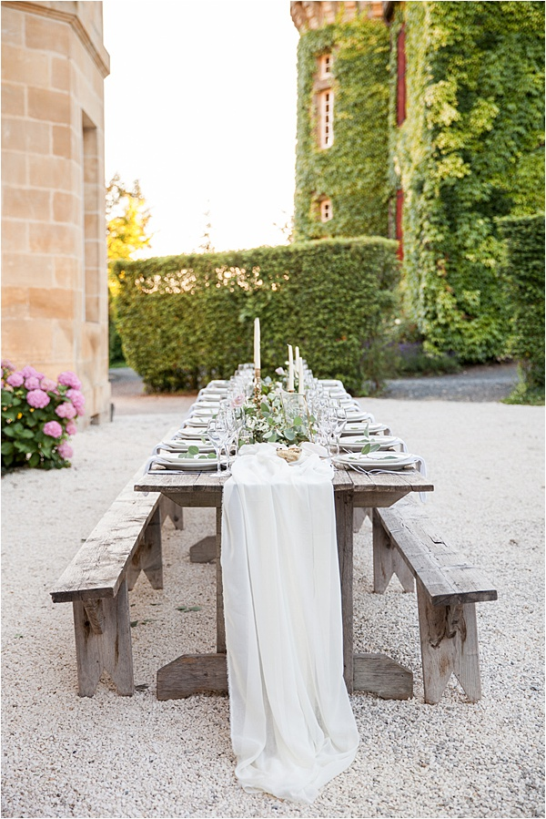 Classic French Wedding at Domaine d'Essendieras Table Setup
