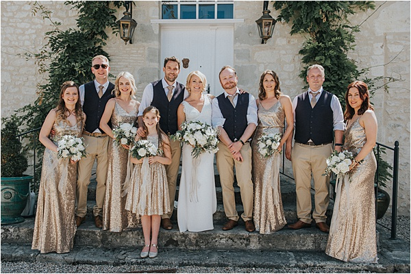 Sparkling Gold Dresses at wedding in Bergerac