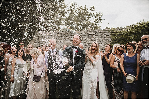 Popping of Champagne at wedding in Vaucluse France