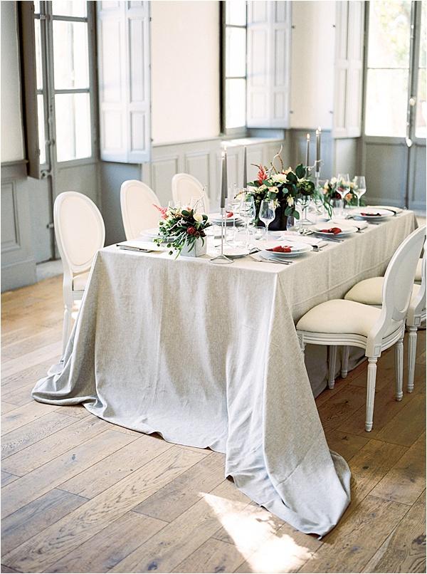 Aurelie Mey Bride - Grey Linen Table Setup