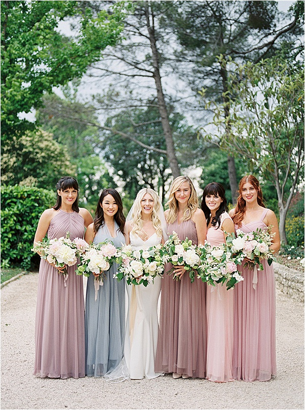 Fine Art French Wedding - Pastel Bridesmaid Dresses