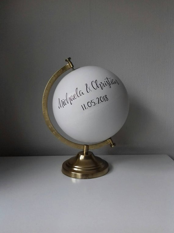 Globe alternative wedding guest book