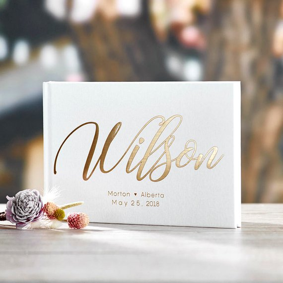 Gold Foil Wedding Guest book white