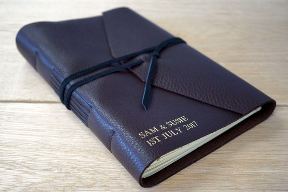 Navy Blue leather wedding guest book