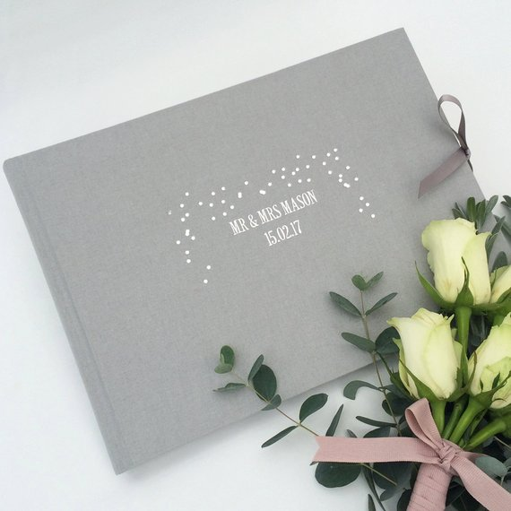 Personalised grey wedding guest book
