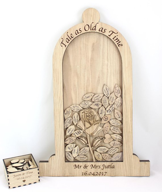 Romantic beauty and the beast wedding drop box