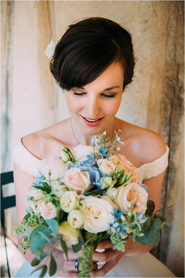 Stephanie Allin wedding dress - Pastel Bridal Bouquet