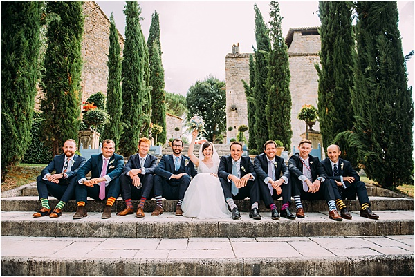 Stephanie Allin wedding dress - Couple with the Groomsmen