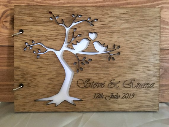 Wooden personalised guest book
