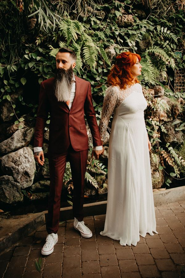 autumn inspired bride and groom