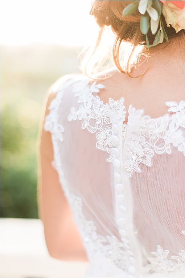 bead works on the dress at paradise of birds wedding on French Riviera