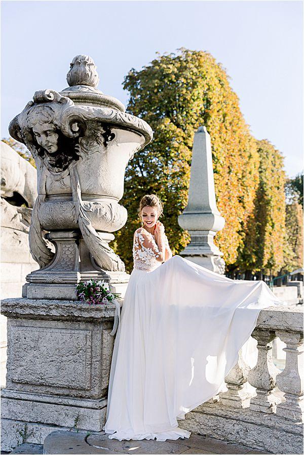 bride on Alexander's bridge at Bridal Photography in Paris