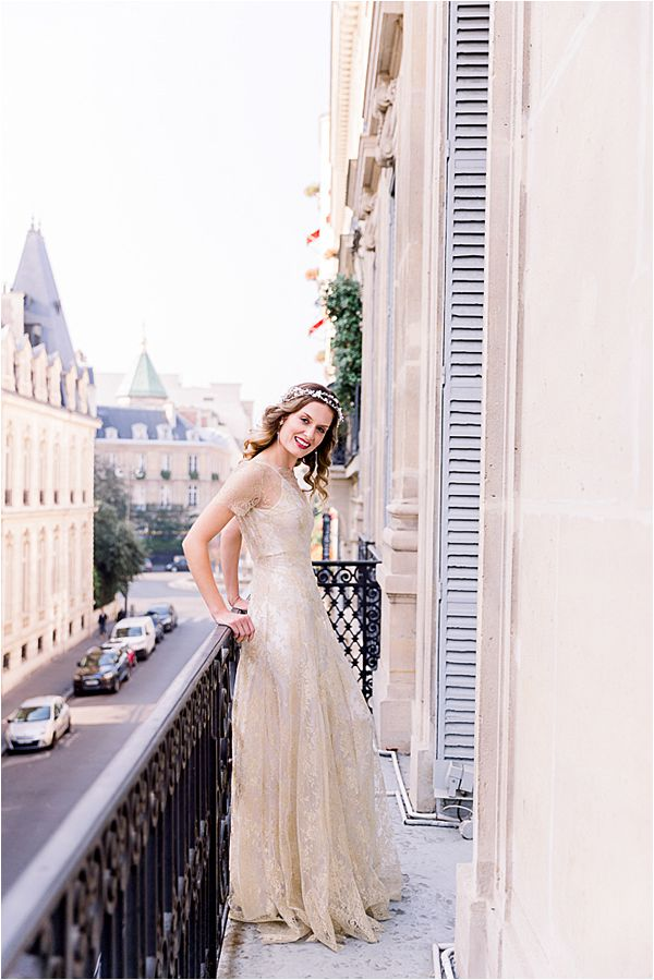 bride's lace gown at Winter Wedding in Paris