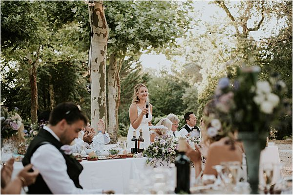 bride's speech at Chateau de la Valouze