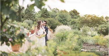 couple on the garden at Destination Wedding Planning in Gascony