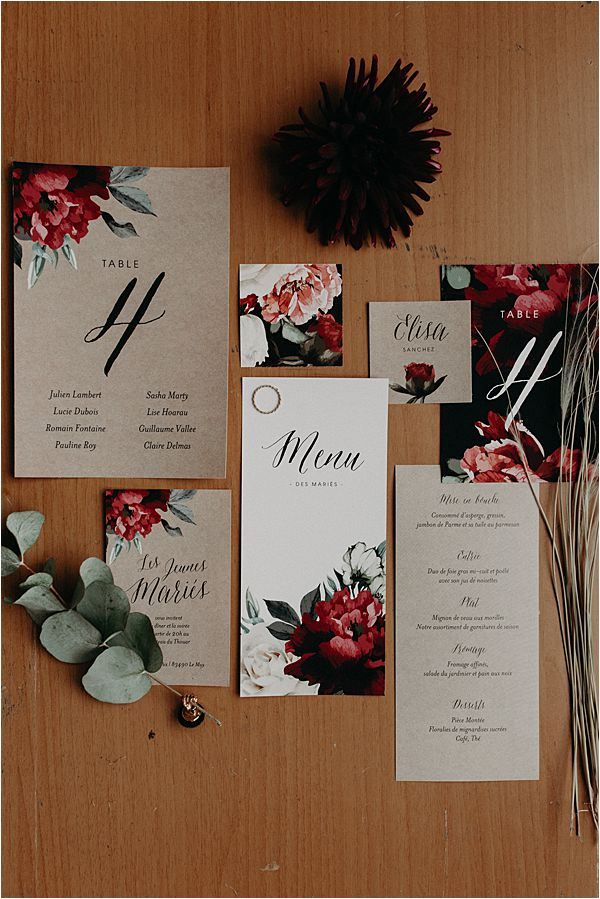creative stationery at paradise of birds wedding on French Riviera