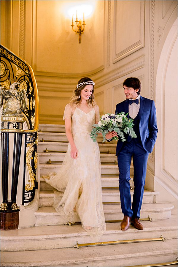 elegant couple at Winter Wedding in Paris