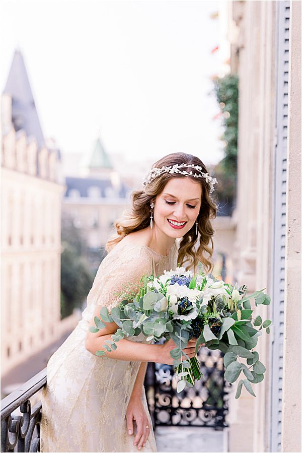 elegant silver crown at Winter Wedding in Paris