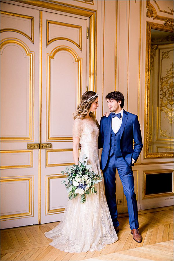 glammed couple at Winter Wedding in Paris