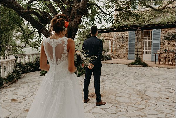 gorgeous back design at paradise of birds wedding on French Riviera