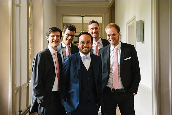groom with groomsmen wedding at Château de Méridon
