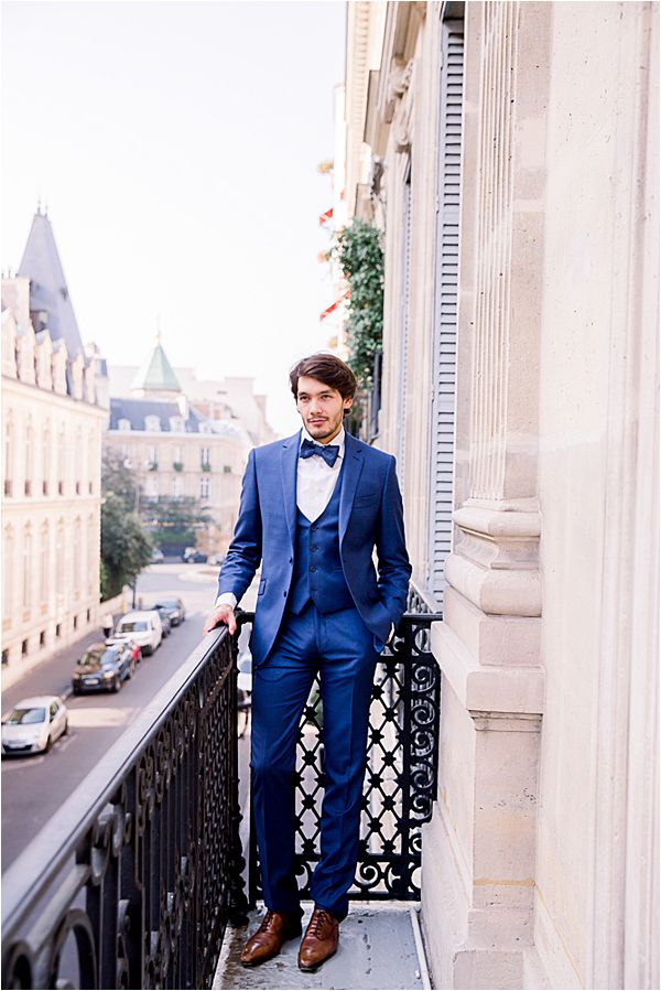 groom's blue suit at Winter Wedding in Paris