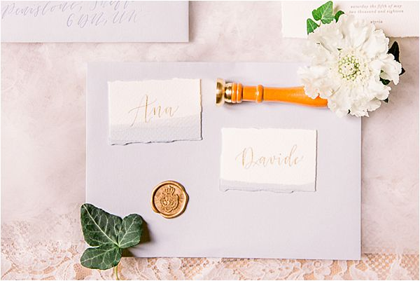 hand made calligraphy at Winter Wedding in Paris