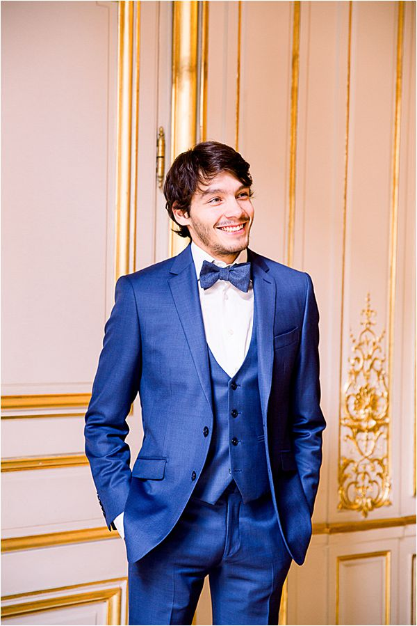 handsome groom at Winter Wedding in Paris