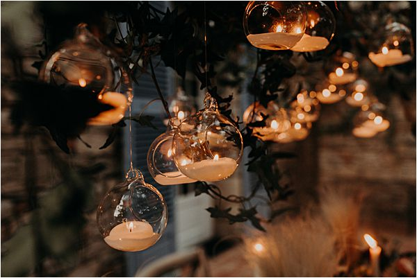 hanging glass balls at paradise of birds wedding on French Riviera