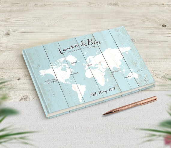 light blue travel themed guest book
