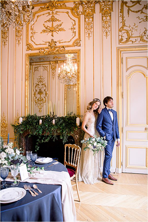 lovely couple at Winter Wedding in Paris
