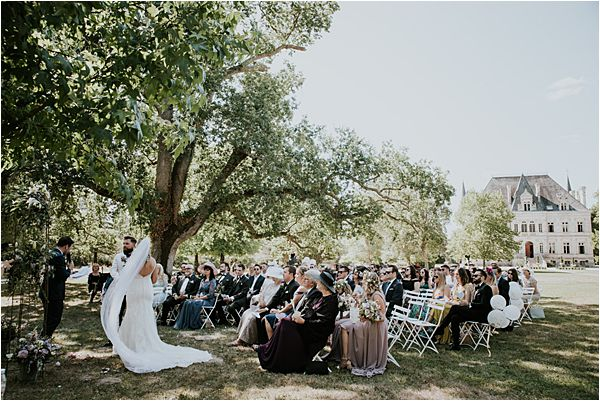outdoor ceremony at Chateau de la Valouze