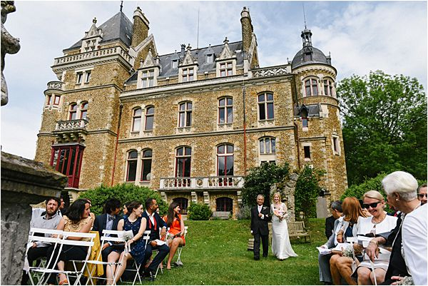outdoor ceremony wedding at Château de Méridon