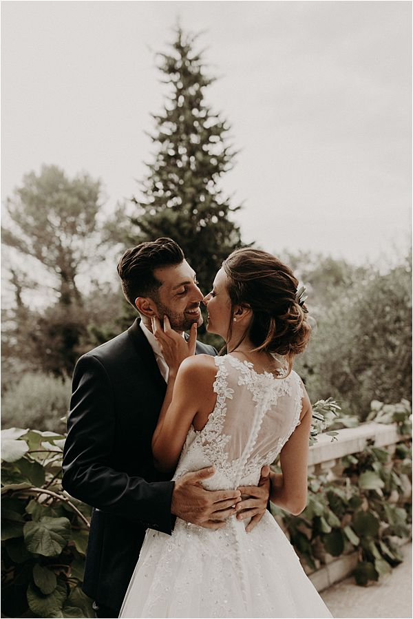 real life couple at paradise of birds wedding on French Riviera