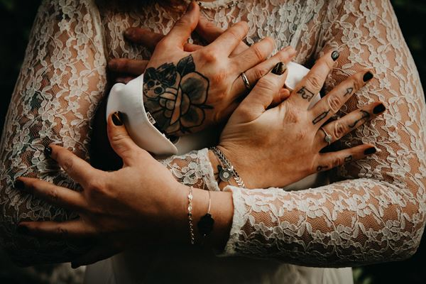 tattooed wedding couple