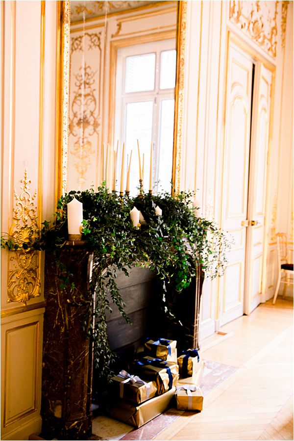 the fireplace at Winter Wedding in Paris