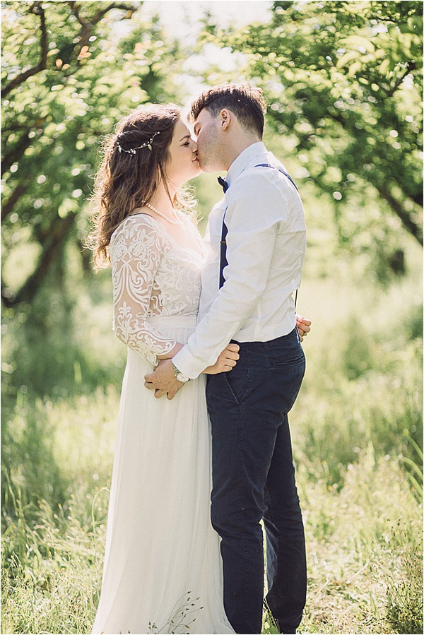 wedding in Provencal Beauty - Couples Kiss on French Wedding Style