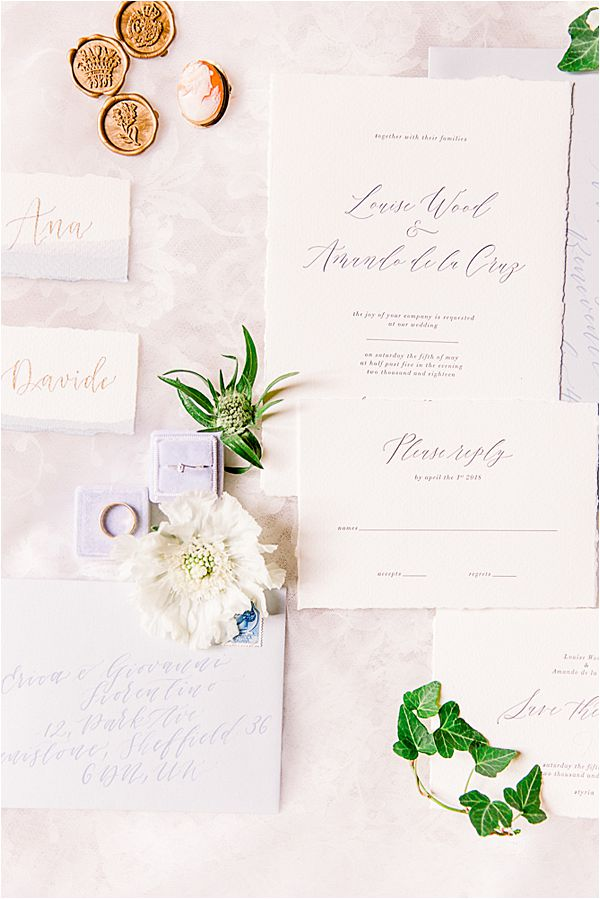 wedding invitation at Winter Wedding in Paris