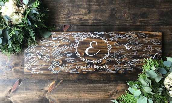 wood wedding guest book book board
