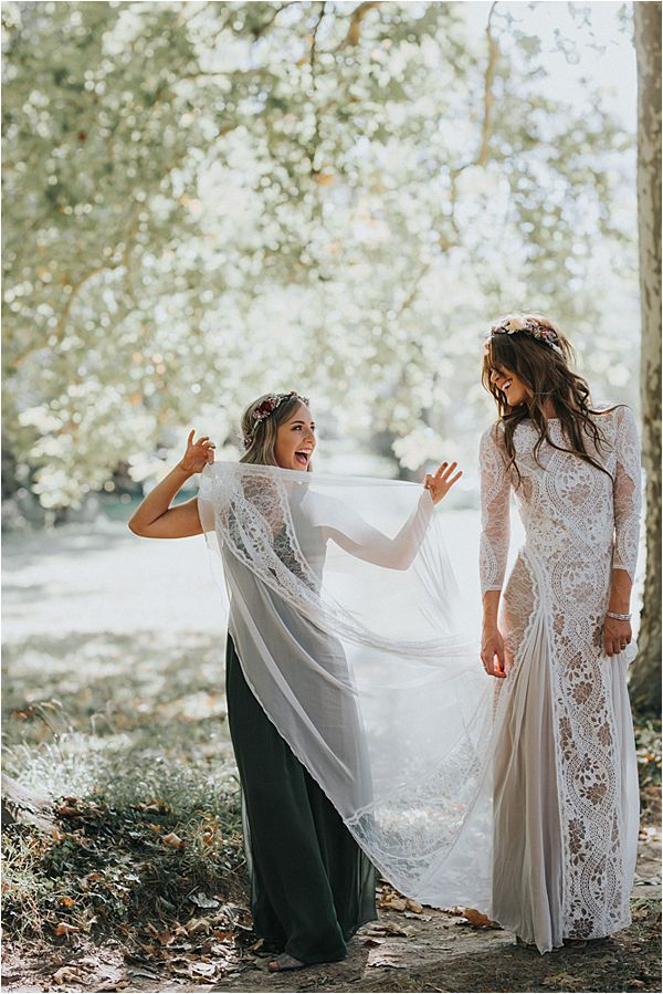 Bohemian wedding gown at Scottish wedding in France