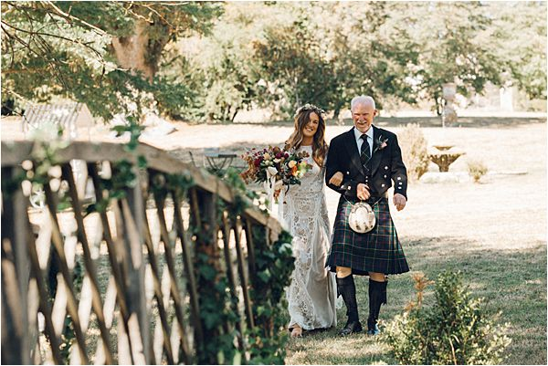 Bride's entrance at Scottish wedding in France