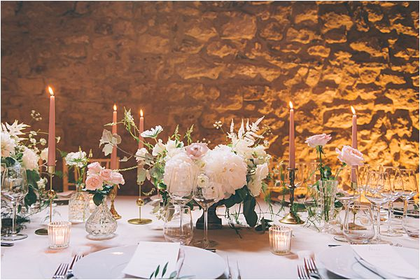 Candle sticks at Elegant French Chateau Wedding