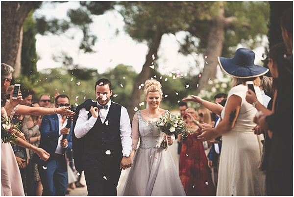 Chateau Wedding in Provence Confetti covered couple