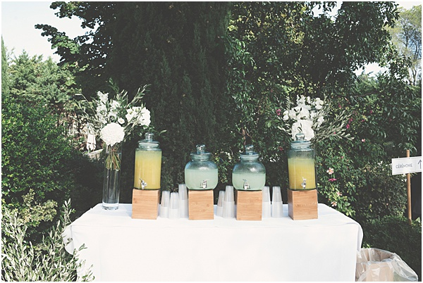 Chateau Wedding in Provence Drinks Table