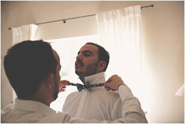 Chateau Wedding in Provence Groom and his bow tie