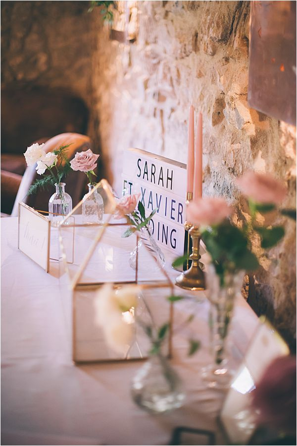 Dinner at the barn in Elegant French Chateau Wedding